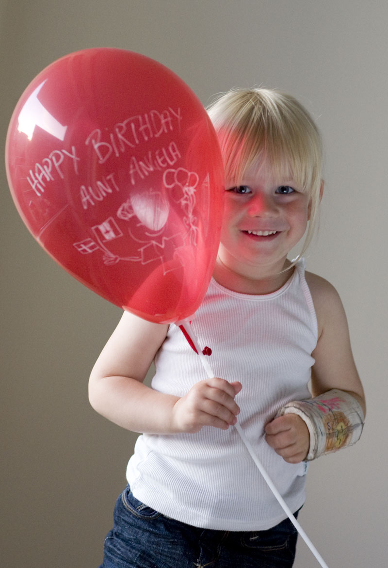 "The balloon reads ""Happy Birthday, Aunt Angela"""
