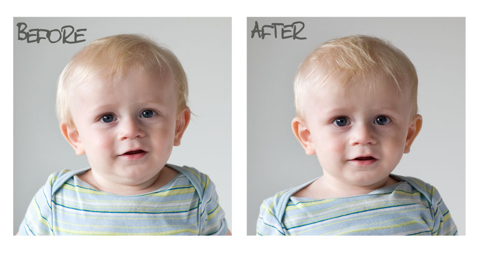 Elliot before and after his mommy snipped his sideburns off.
