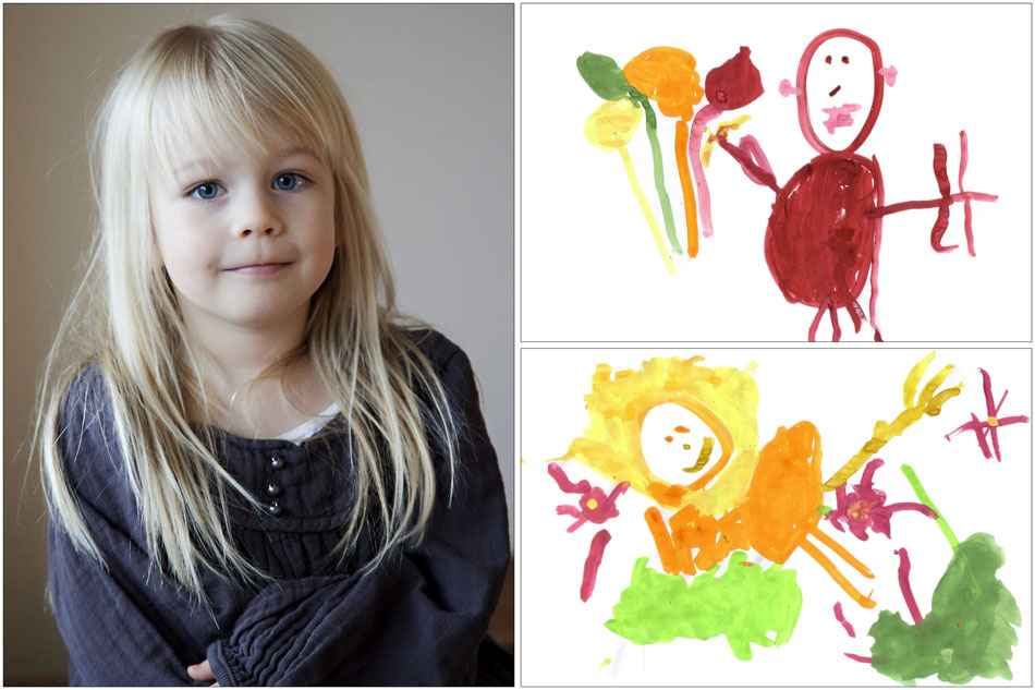 The artist featured with her most recent masterpieces.